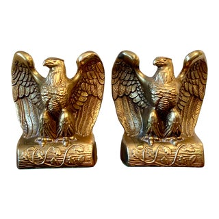 Vintage Cast Metal Brass Finish Eagle Bookends - a Pair For Sale