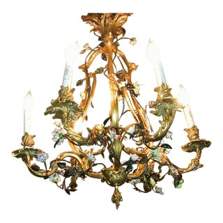 19c French Gilt Bronze Chandelier With Porcelain Flowers For Sale