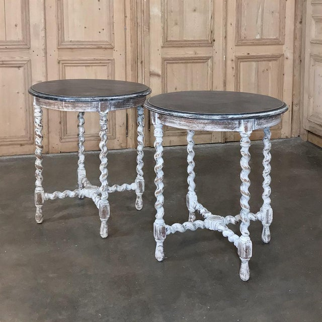 Pair Antique Barley Twist Painted End Tables For Sale - Image 13 of 13