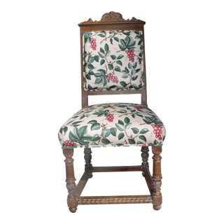 Vintage Mid Century Ornately Carved Oak Side Chair For Sale