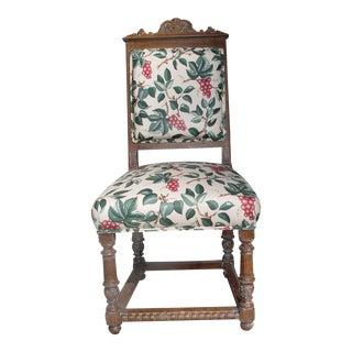 Vintage Mid Century Ornately Carved Oak Side Chair For Sale