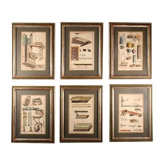 18th Century Antique French Hand Colored Copper Engravings - Set of 6 For Sale