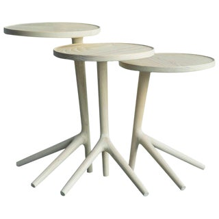 White Ash Tripod Nesting End Tables - Set of 3 For Sale