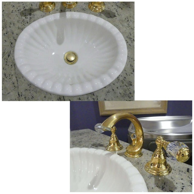 Chinoiserie Paint Decorated Sink Vanity For Sale - Image 9 of 13