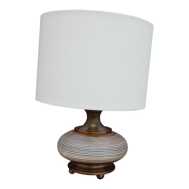 Boho Chic Squat Bronze Table Lamp For Sale