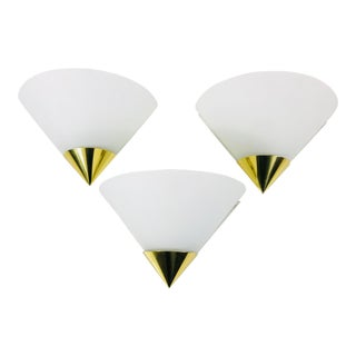 1980s Mid-Century Modern Brass and Opaline Glass Wall Lamps by Glashütte Limburg, Germany - Set of 3 For Sale