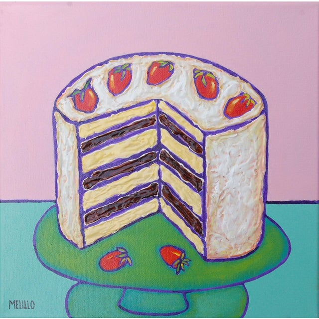 Small Pop Art Mixed Media Strawberry Cake by Tom Melillo For Sale