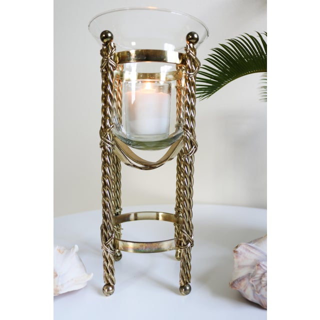 Gold Mid-Century Tall Brass & Glass Candleholder For Sale - Image 8 of 13
