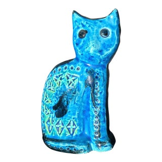 Bitossi Double Sided Turquoise Blue Ceramic Cat