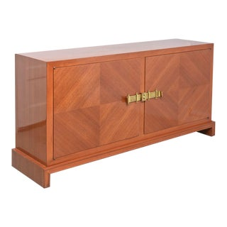 American Modern Bleached Mahogany and Brass-Mounted Credenza, Tommi Parzinger For Sale