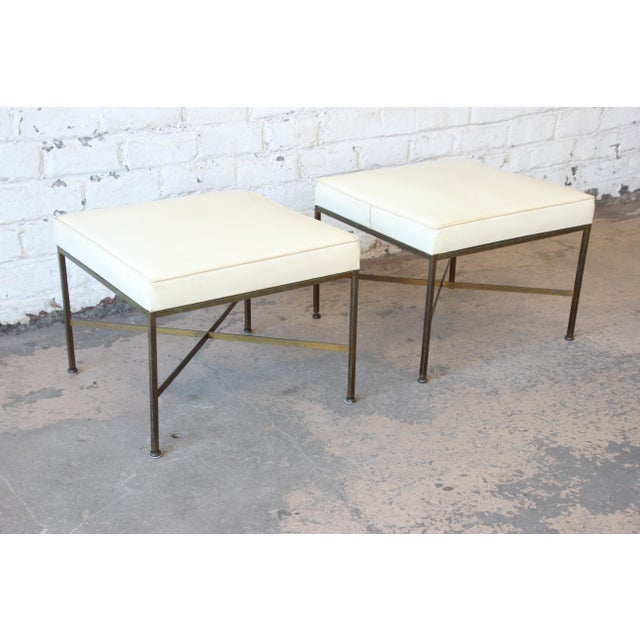 Paul McCobb Paul McCobb for Directional X-Base Brass and Upholstered Stools or Benches, Pair For Sale - Image 4 of 11