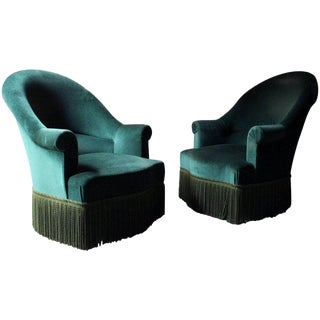 French Napoleon III Style Beech and Green Velvet Armchairs - A Pair