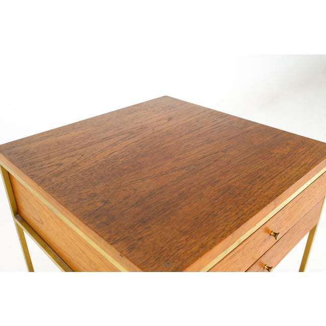 Metal Paul McCobb for Calvin Group Mid Century Oak and Brass Nightstand For Sale - Image 7 of 13