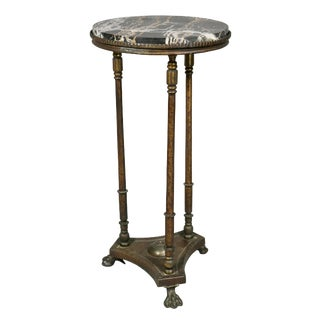 Oscar Bach Iron and Marble Pedestal Table For Sale