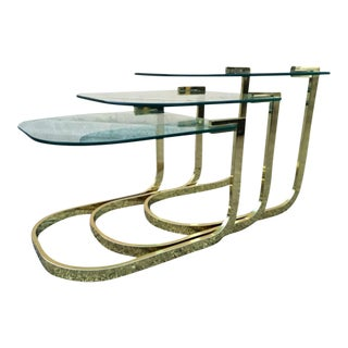 Vintage Milo Baughman Glass & Brass Nesting Tables- Set of 3