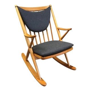 Late 20th Century Vintage Frank Reenskaug Danish Teak Rocking Chair For Sale