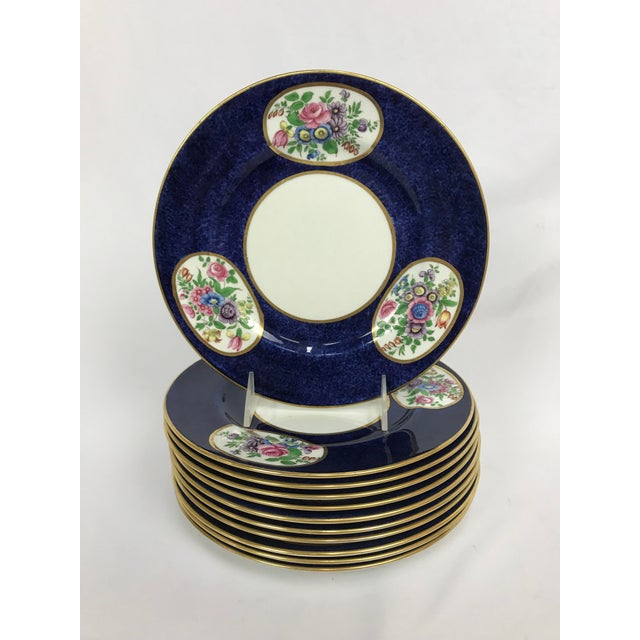 Ceramic Vintage Crown Staffordshire Cobalt & White With Flowers Luncheon Plate Set - 12 Pc. For Sale - Image 7 of 7