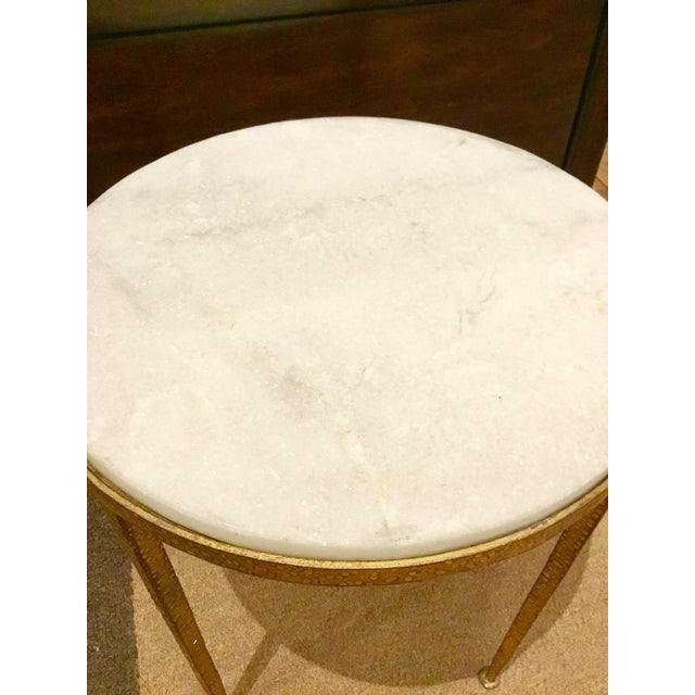 Arteriors Round Hammered Metal Table For Sale - Image 5 of 6