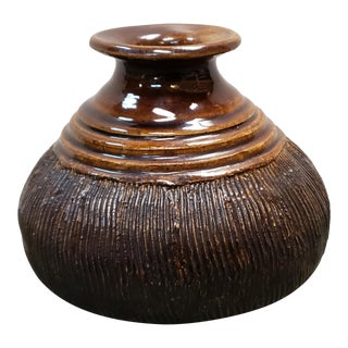 1960s Catawba Valley Art Pottery Brown Glazed Stoneware Vase by Hillier Simpson For Sale