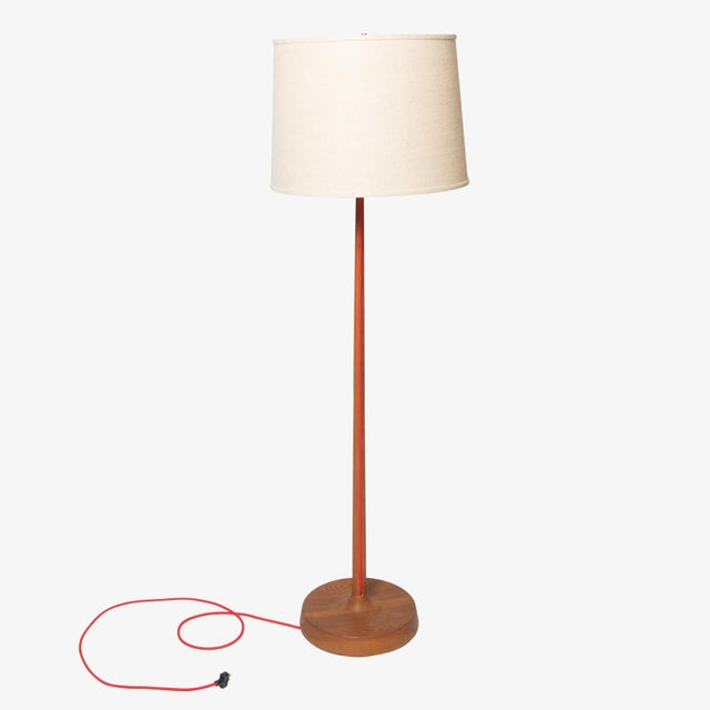 Superior Scandinavian oak floor lamp with exposed cord and burlap ...