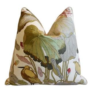 "G P & J Baker Nympheus Floral Botanical Linen Feather/Down Pillow 26"" Square For Sale"