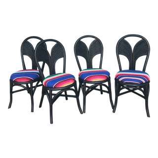 Matte Black Rattan Chairs - Set of 4 For Sale