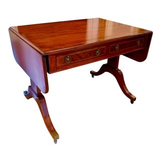 Early 20th Century Baker Furniture English Regency Inlaid Drop Leaf Table For Sale