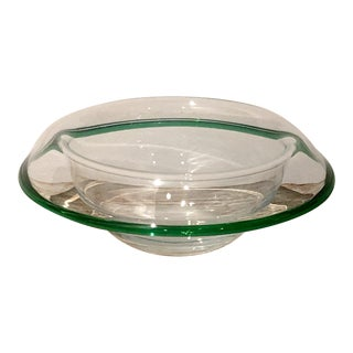 Murano Low Bowl With a Green Rim, Italy, Circa 1930 For Sale