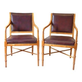 Regency Style Leather Armchairs - A Pair