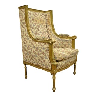 Antique French Louis XVI Victorian Gold Gilt Wood Wing Back Bergere Armchair For Sale