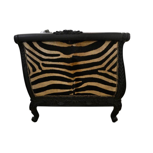 Go wild! Be creative! Get a statement piece! This custom designed hair on cowhide zebra printed sofa with crushed quilted...