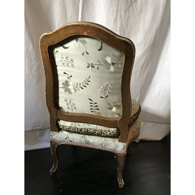 Mid 19th Century Pale Gray Floral Embroidered Silk French Slipper Chair For Sale - Image 5 of 8