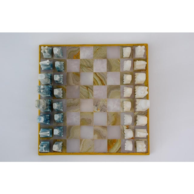 Vintage Aztec Blue and White Onyx Marble Chess Set For Sale - Image 9 of 12
