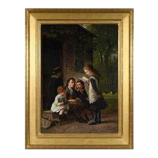 Genre Work Ny 1879 Signed by William Hahn, American For Sale