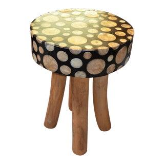 Vintage Mushroom Design Top Wood Stool For Sale