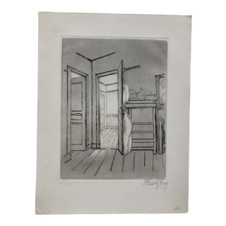 Interior, Etching and Aquatint by Frank Kleinhoz 1950 For Sale