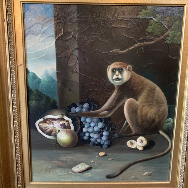 Canvas 1960s Vintage Framed Monkey Paintings - A Pair For Sale - Image 7 of 12