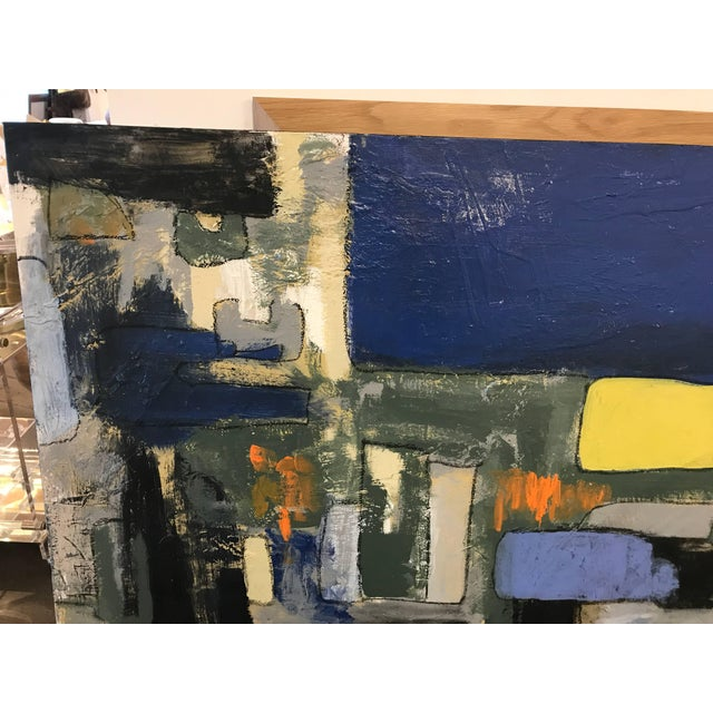 A nice vibrant abstract painting by the noted Palm Springs artist Jeff King. The painting is signed on all four sides and...