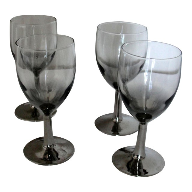 Vintage Petite Wine Glasses Marked France Silver Gray Stems - 4 For Sale