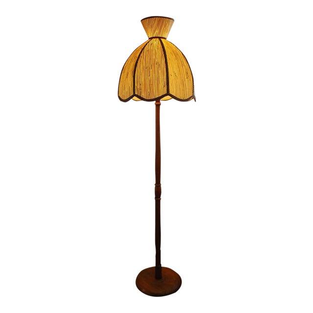 1970s mid century modern walnut floor lamp with wheat grass lamp 1970s mid century modern walnut floor lamp with wheat grass lamp shade mozeypictures Gallery