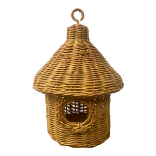 Vintage Natural Woven Wicker Rattan Bird Hut For Sale