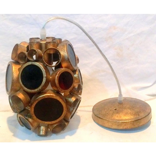 Vintage Brass & Espresso Glass Barnacle Pendant Light - Image 3 of 9