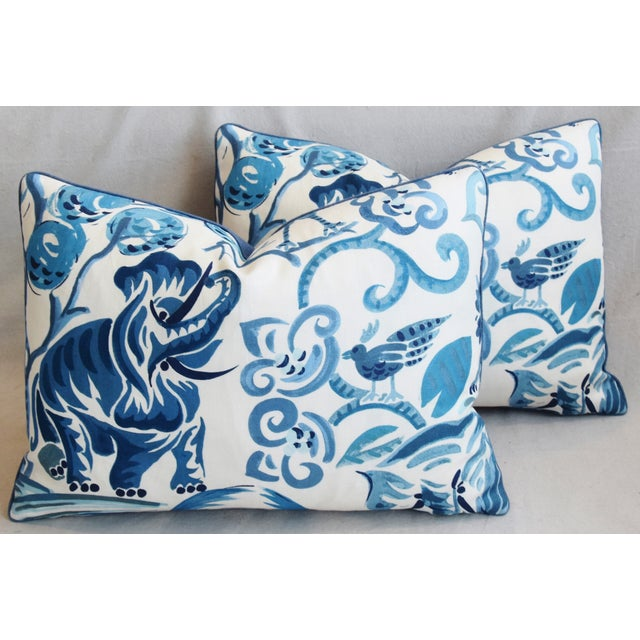 """Blue P. Kaufmann Blue & White Animal Feather/Down Pillows 22"""" X 16"""" - Pair For Sale - Image 8 of 13"""