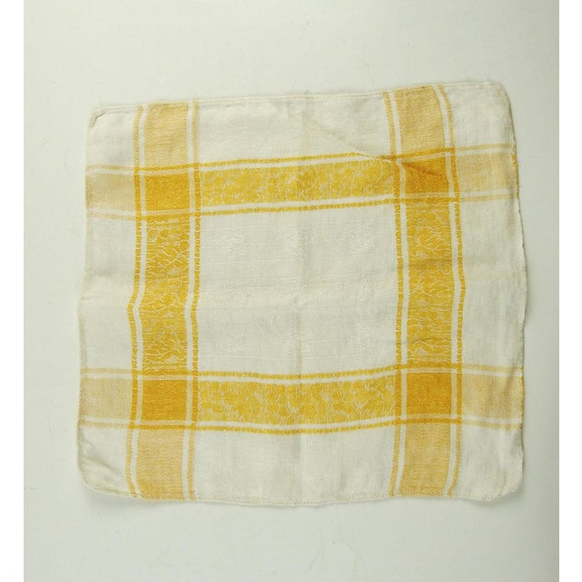 Set of 6 cotton damask napkins in cream and dark yellow. Dimensions are for each napkin, few small spots.