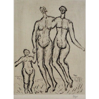 """Jennings Tofel Expressionist """"Figures With Child"""" Etching on Paper, Early 20th Century For Sale"""