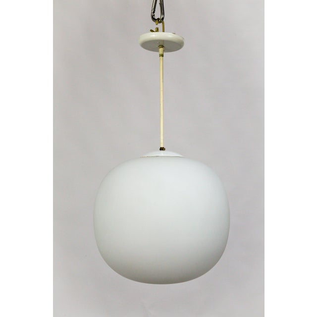 Danish Modern Flattened White Glass Sphere Pendants (2 Available) For Sale - Image 10 of 11