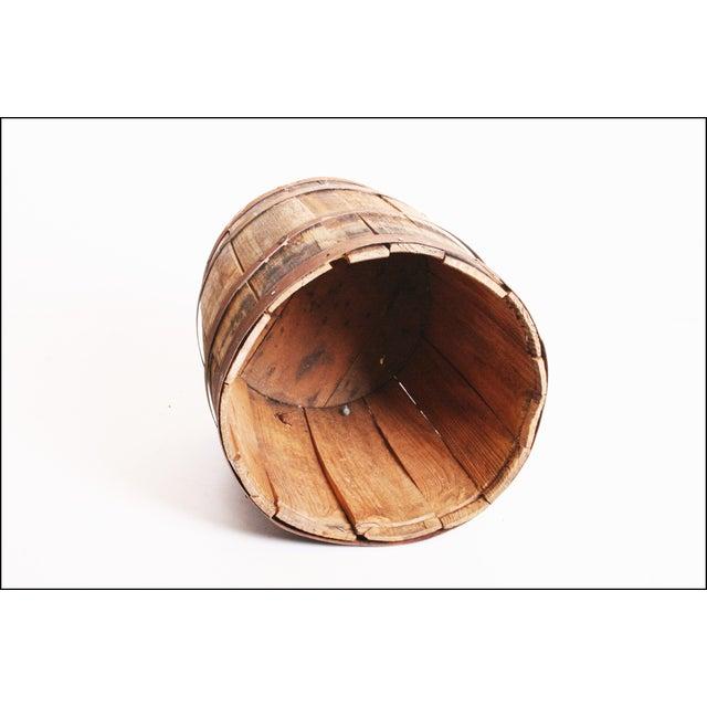 Vintage Rustic Banded Weathered Wood Nail Keg - Image 9 of 11