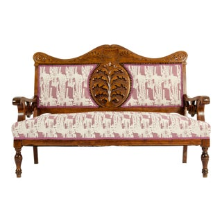 Mid-19th Century Hand Carved Mahogany Victorian Style Settee For Sale