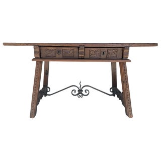 18th Century Catalan Spanish Baroque Walnut Trestle Table, Restored For Sale