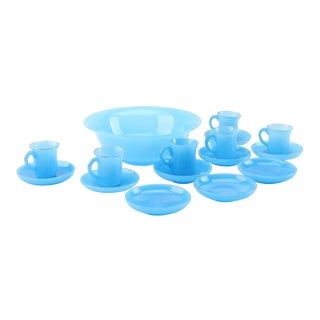 19th Century French Blue Opaline Glass Cups & Saucers With Serving Bowl & Dessert Bowl/ Plates - Set of 16 For Sale